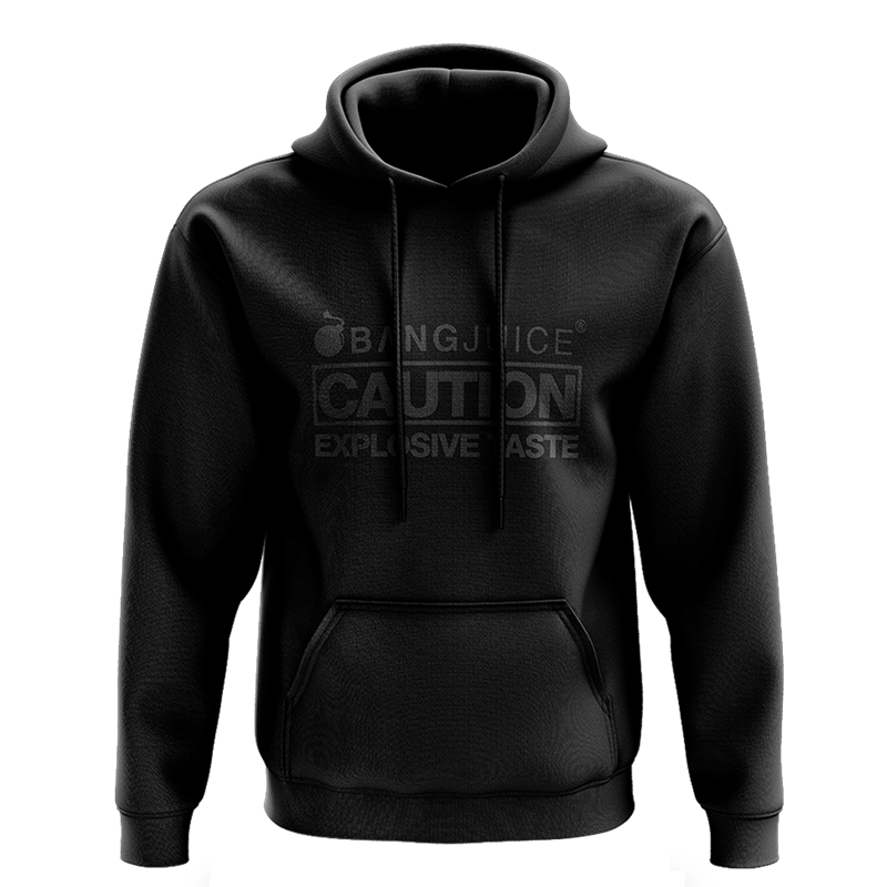 Bang Juice Hoodie Black Print Caution Stripes Merchandise