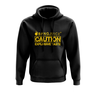 Bang Juice Hoodie Yellow Print Caution Stripes -Merchandise