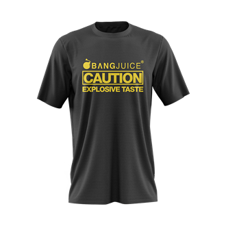 Bang Juice T-Shirt Yellow Print Caution StripesMerchandise